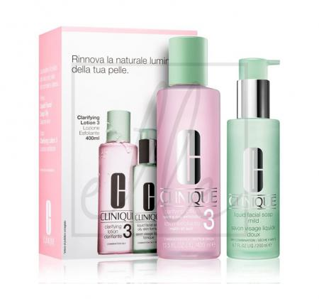 Clinique clarifying lotion 3 set (clarifyng lotion 3 - 400ml + liquid facial soap - 200ml)