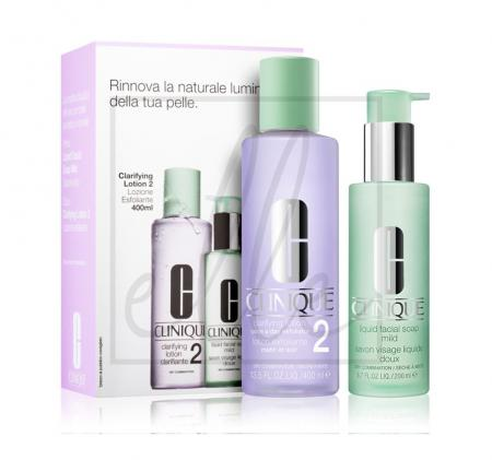 Clinique clarifying lotion 2 set (clarifying lotion 2 - 400ml + liquid facial soap - 200ml)