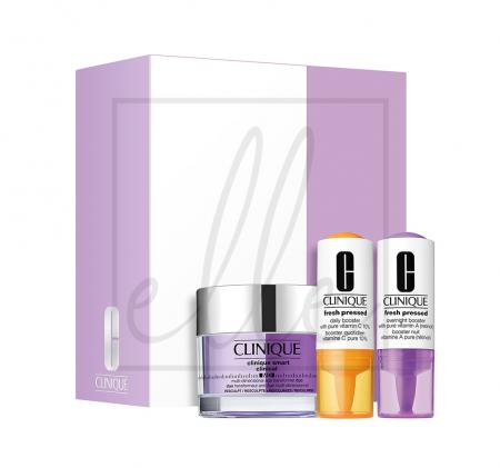 Clinique smart clinical md resculpt & revolumize set (clnique smart clinical - 50ml + fresh pressed daily booster - 8.5ml + fresh pressed overnight booster - 6ml)