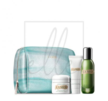 La mer the revitalizing hydration collection (cleansing foam - 30ml + creme de la mer - 30ml + le serum - 30ml + cosmetic bag)